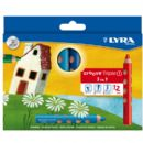 12 x LYRA GROOVE TRIPLE 1 PENCIL / CRAYON / WATER SOLUBLE 3 in 1 SUPER JUMBO